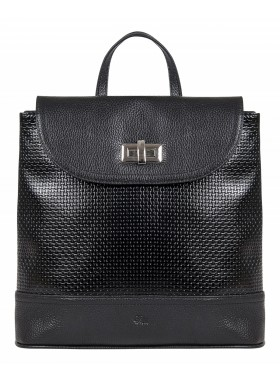 Рюкзак женский кожаный Franchesco Mariscotti 1-3677к-800 плетёнка черный