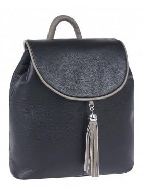 Рюкзак женский кожаный Franchesco Mariscotti 1-4376к фр чёрный-капучино