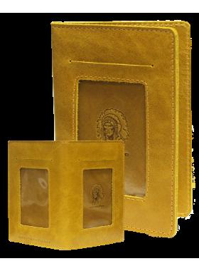 Бумажник водителя мужской из натуральной кожи ОВ-4-A табачно-желтый Apache