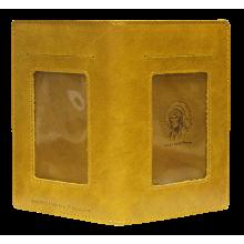 Бумажник портмоне для документов водителя из кожи ОВ-4-A табачно-желтый Apache