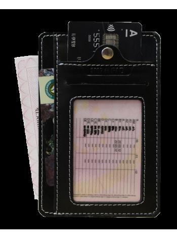 Обложка для автодокументов из кожи ОВ-S черный Apache с защитой RFID