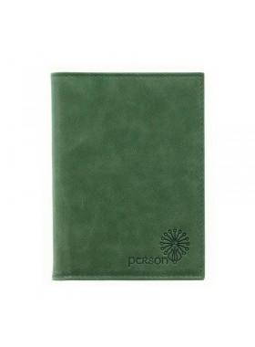 Обложка для автодокументов женская натуральная кожа ОВ-1 друид зеленый Флауэрс