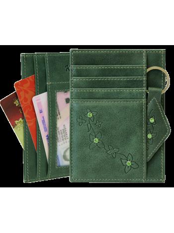 Обложка для автодокументов женская из натуральной кожи ОВ-М Мэри Kniksen зеленый