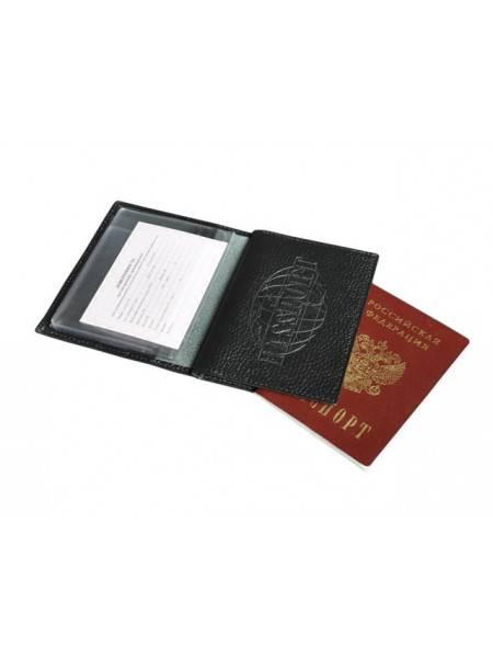 Обложка для прав и паспорта ОВ-3 фактурный черный Person