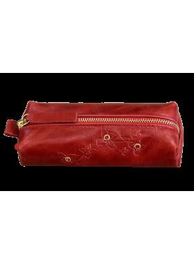 Ключница кожаная женская на молнии красный КМ-2 Мэри Kniksen