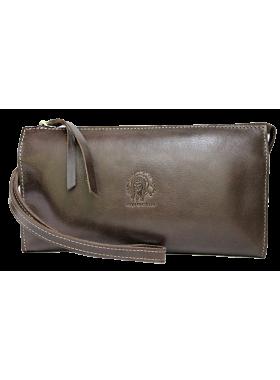 Клатч портмоне мужское кожаное для документов и денег БМ-А дымчато-коричневое Apache