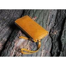 Клатч портмоне мужское кожаное для документов и денег БМ-А табачно-желтое Apache