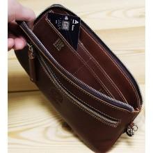Клатч портмоне мужской кожаный с молнией ФРТ-S коричневый Apache RFID