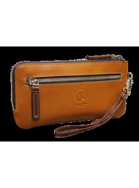 Клатч портмоне мужской кожаный с молнией ФРТ-S рыжий Apache RFID