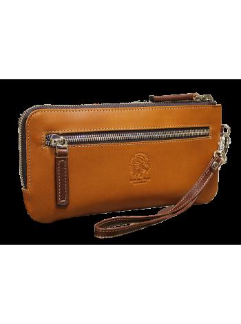 Клатч кожаный портмоне ФРТ-S рыжее Apache