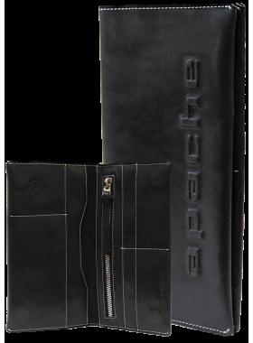 Портмоне для документов и денег из кожи на скрытых магнитах Вояж-2-A дымчато-черное Apache
