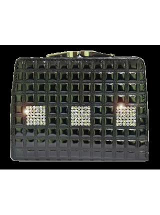 Кошелек лаковый Сварвоски стразы РК-1 black ice Kniksen