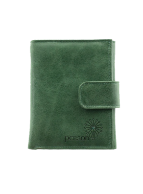 Кошелек портмоне женское натуральная кожа С-Джари друид зеленый Флауэрс
