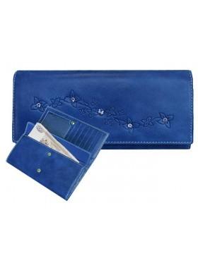 Портмоне кошелек женский кожаный Мэри ВП-17 друид синий Kniksen