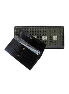 Портмоне кошелек женский кожаный с кристаллами Сваровски ВП-17 black ice Kniksen черный
