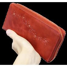 Кошелек портмоне женский на молнии из натуральной кожи Мэри красный ВП-1пулл-уп Kniksen