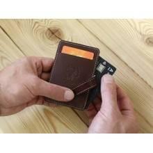 Футляр для карт из натуральной кожи ФСК-S коричневый Apache RFID
