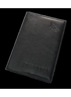 Обложка для паспорта из кожи А-ОП черный Авиатика