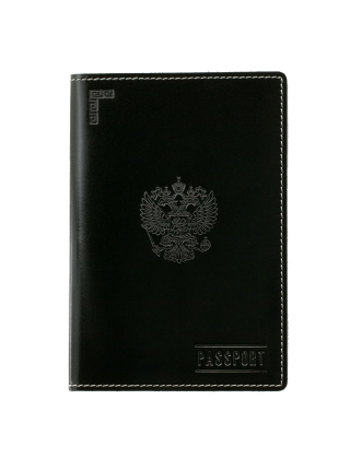 Обложка для паспорта О-ПО с тиснением Герб РФ и PASSPORT Эллада