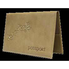 Обложка на паспорт женская кожаная ОПВ Мэри друид бежевый