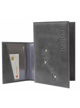 Обложка для паспорта ОПВ- Мэри женская друид серый Kniksen
