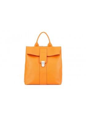 Женский рюкзак из натуральной кожи Камелия-1 с узором Kniksen оранжевый