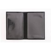 Обложка для паспорта из кожи ОП-1 Person глянцевая черная