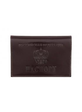 Обложка для паспорта из кожи  ОП-1 Person глянцевый бордо