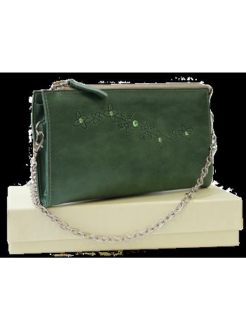 Клатч женский кожаный Мэри друид зеленый СК-1 Kniksen
