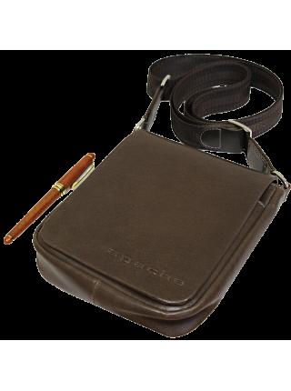 Сумка планшет из кожи дымчато-коричневая СМ-7013 Apache