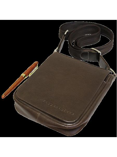 Сумка планшет из кожи дымчато-коричневая СМ-7013-А Apache