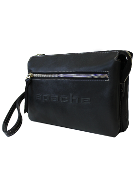 Барсетка сумка клатч мужской из натуральной кожи дымчато-черный CM-8013-A Apache