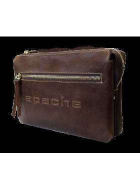 Барсетка сумка клатч мужской из натуральной кожи дымчато-коричневая CM-8013-A Apache
