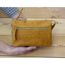 Барсетка сумка клатч мужской из натуральной кожи табачно-желтый CM-8013-A Apache