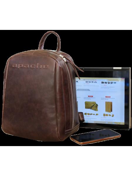 Кожаный городской рюкзак P-9013-A дымчато коричневый Apache