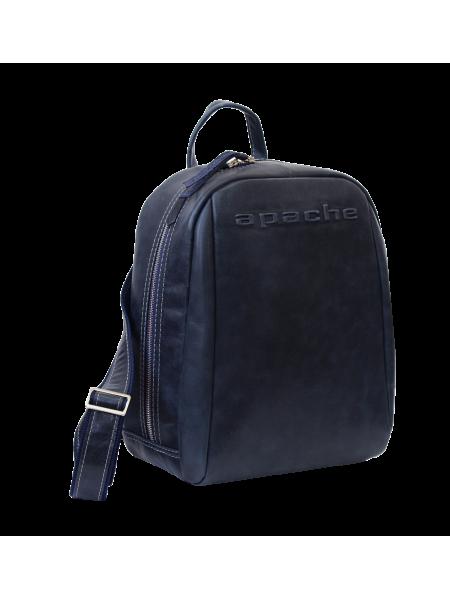 Кожаный городской рюкзак P-9013-A друид темно синий Apache