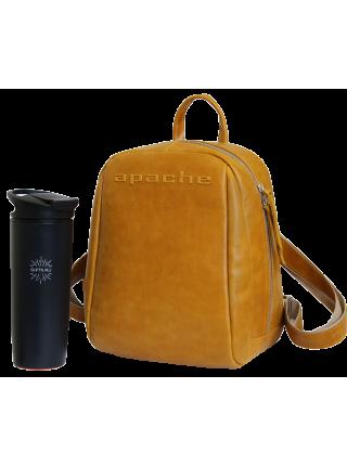 Кожаный городской рюкзак друид P-9013-A табачно желтый Apache