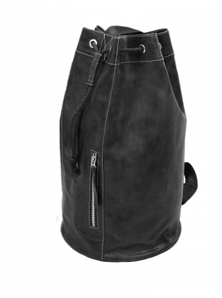 Сумка мешок кожаная C-9213-A дымчато-черного Apache