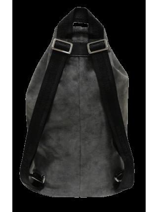 Сумка мешок-рюкзак серая из искусственной кожи Apache