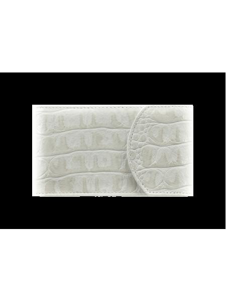 Визитница карманная С-ВМ-3 кайман белый из кожи Флауэрс