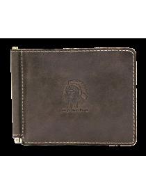 Зажим для денег мужской из натуральной кожи Apache ОК-А дымчато-коричневый