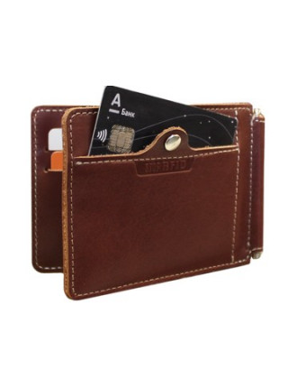 Зажим для денег ОК-S коричневый Apache RFID